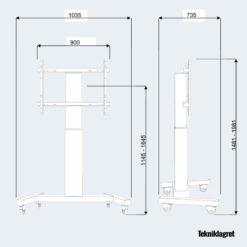 Golvstativ skärm el-motor höj- och sänkbart Tekniklagret specifikation